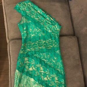 Bebe lace one shoulder mini dress